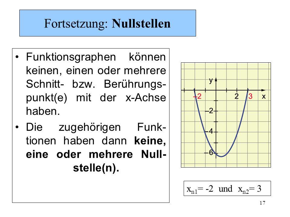 17 Fortsetzung: Nullstellen Funktionsgraphen können keinen, einen oder mehrere Schnitt- bzw. Berührungs- punkt(e) mit der x-Achse haben. Die zugehörig