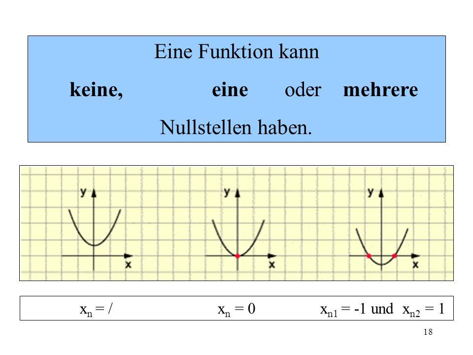 18 Eine Funktion kann keine, eine oder mehrere Nullstellen haben. x n = / x n = 0 x n1 = -1 und x n2 = 1