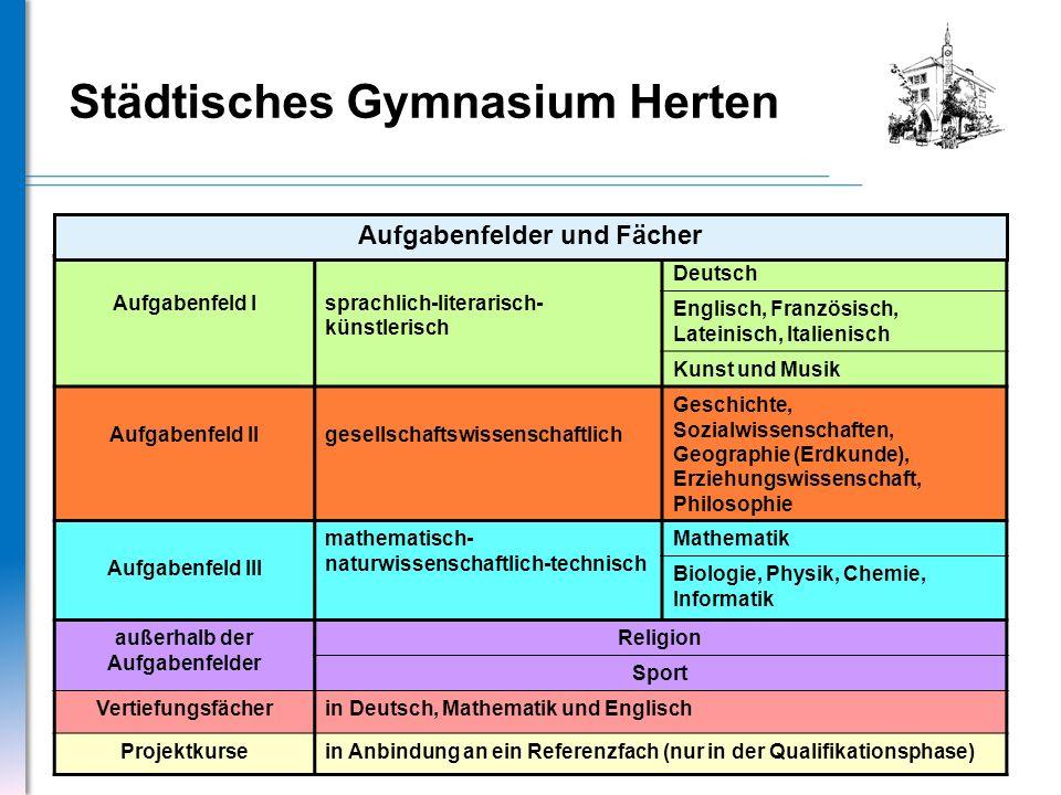 Städtisches Gymnasium Herten Aufgabenfeld Isprachlich-literarisch- künstlerisch Deutsch Englisch, Französisch, Lateinisch, Italienisch Kunst und Musik