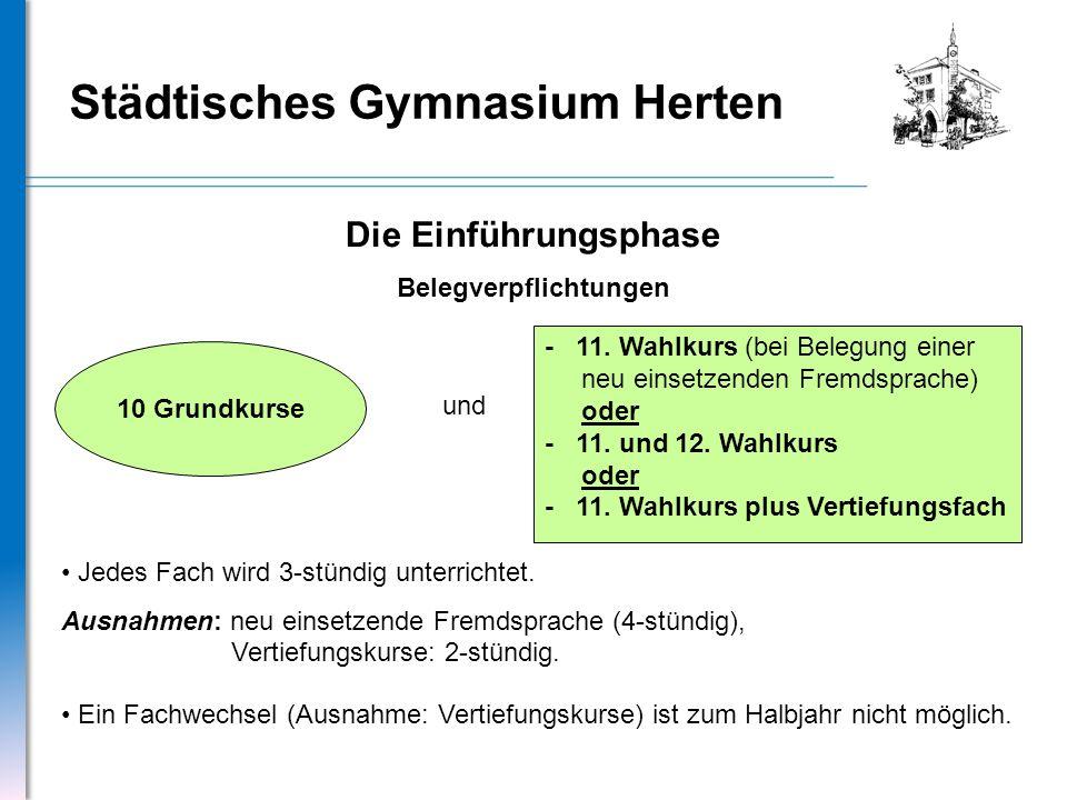 Städtisches Gymnasium Herten Die Einführungsphase Belegverpflichtungen 10 Grundkurse - 11. Wahlkurs (bei Belegung einer neu einsetzenden Fremdsprache)