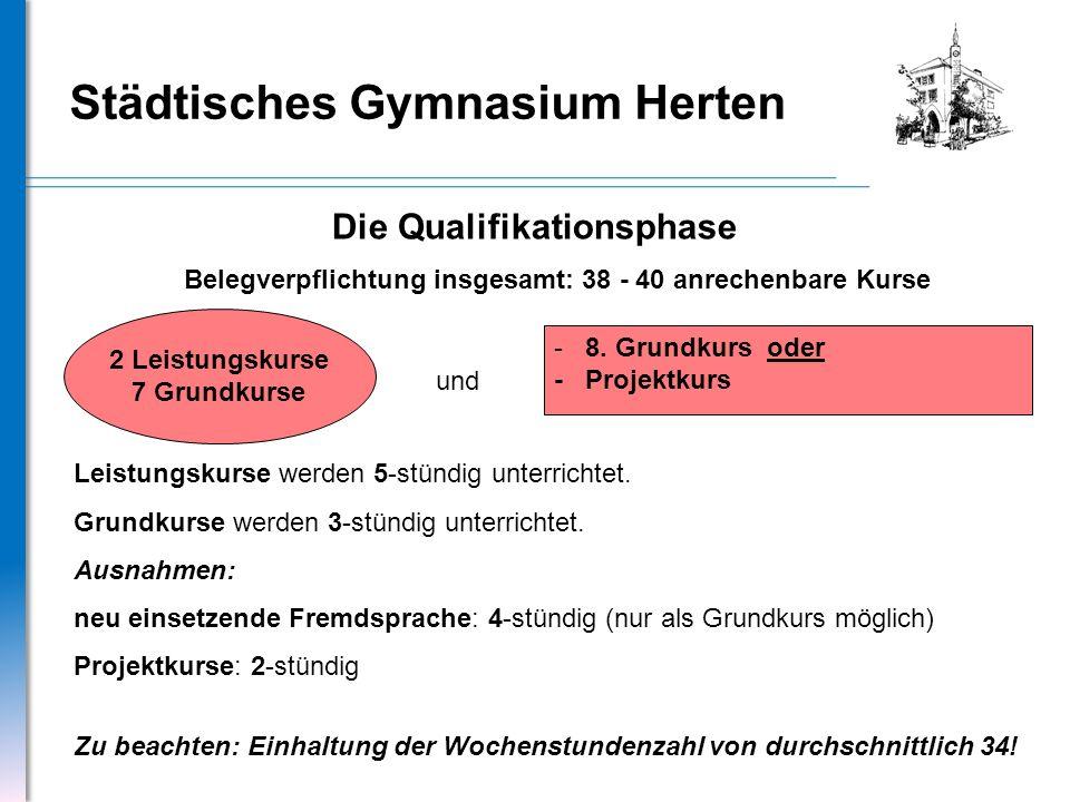 Städtisches Gymnasium Herten Die Qualifikationsphase 2 Leistungskurse 7 Grundkurse - 8. Grundkurs oder - Projektkurs und Belegverpflichtung insgesamt: