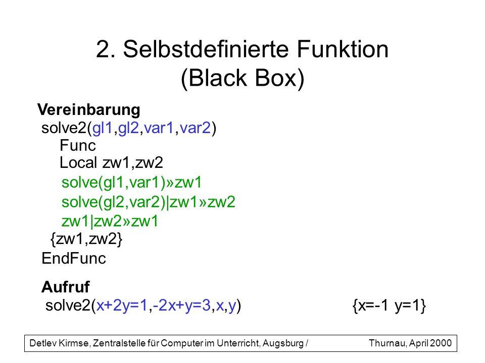 2. Selbstdefinierte Funktion (Black Box) solve2(gl1,gl2,var1,var2) Func Local zw1,zw2 solve(gl1,var1)»zw1 solve(gl2,var2)|zw1»zw2 zw1|zw2»zw1 {zw1,zw2