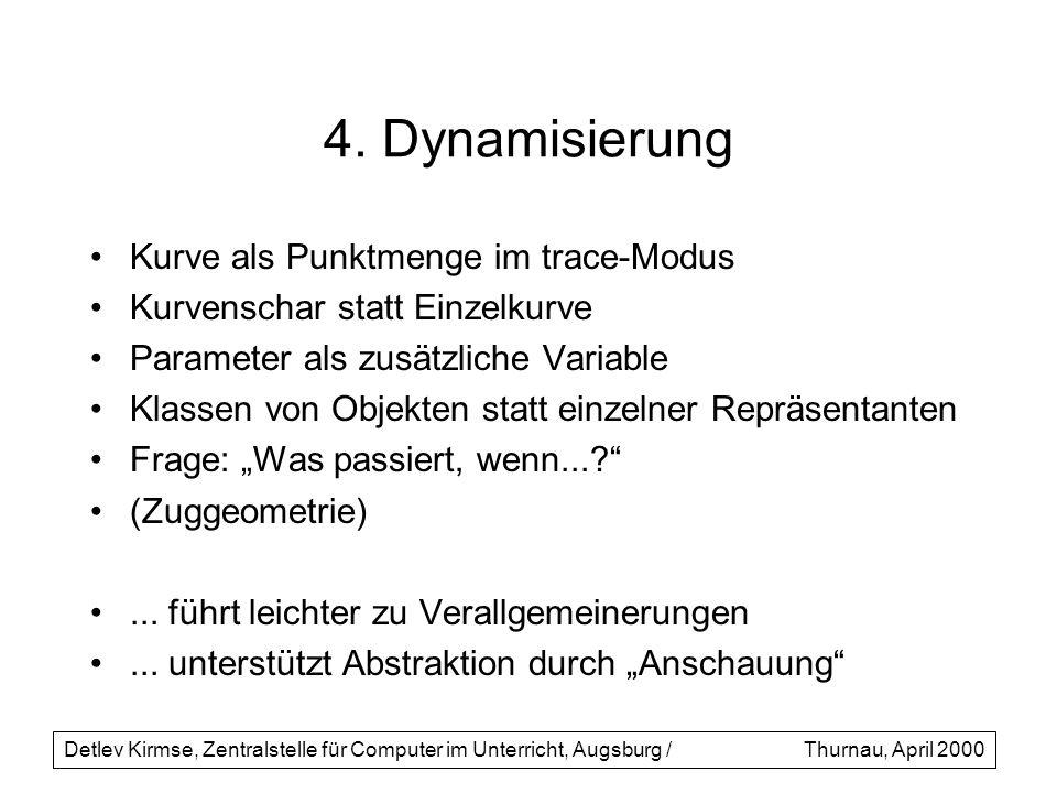 4. Dynamisierung Kurve als Punktmenge im trace-Modus Kurvenschar statt Einzelkurve Parameter als zusätzliche Variable Klassen von Objekten statt einze