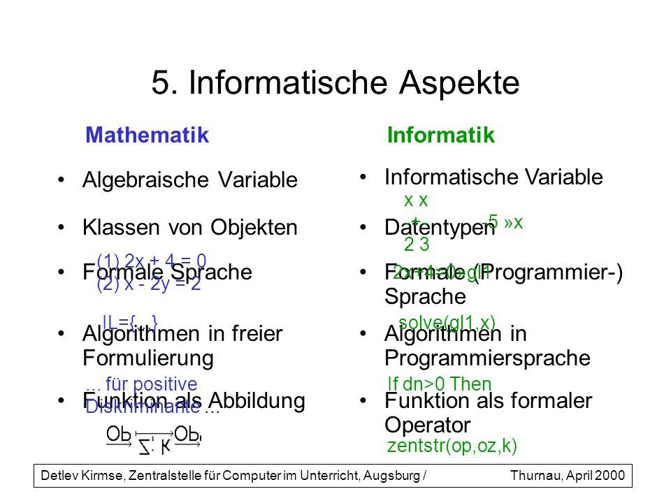 5. Informatische Aspekte Algebraische Variable Formale Sprache Detlev Kirmse, Zentralstelle für Computer im Unterricht, Augsburg /Thurnau, April 2000
