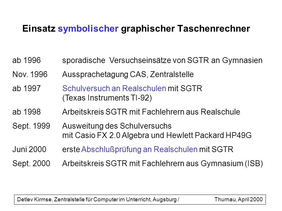 ab 1996sporadische Versuchseinsätze von SGTR an Gymnasien Nov. 1996Aussprachetagung CAS, Zentralstelle ab 1997Schulversuch an Realschulen mit SGTR (Te