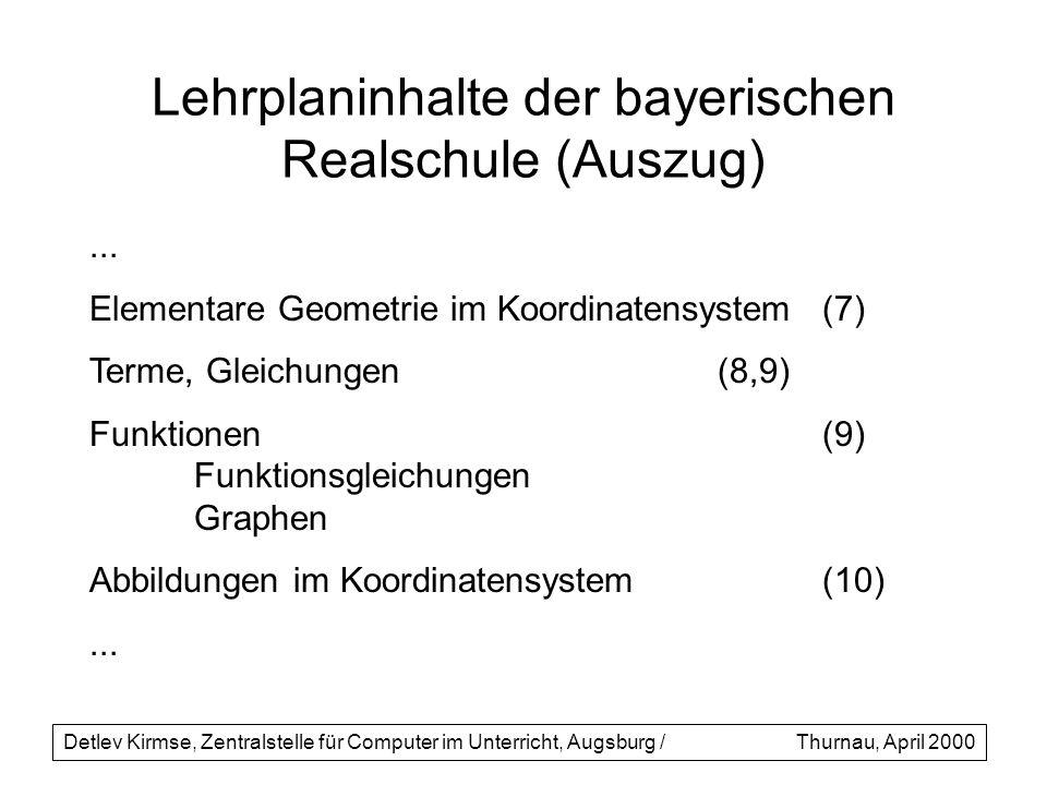 Lehrplaninhalte der bayerischen Realschule (Auszug)... Elementare Geometrie im Koordinatensystem(7) Terme, Gleichungen(8,9) Funktionen(9) Funktionsgle