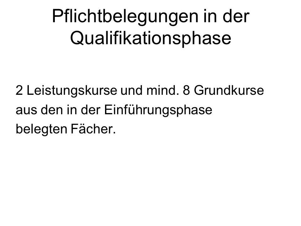 Pflichtbelegungen in der Qualifikationsphase 2 Leistungskurse und mind. 8 Grundkurse aus den in der Einführungsphase belegten Fächer.