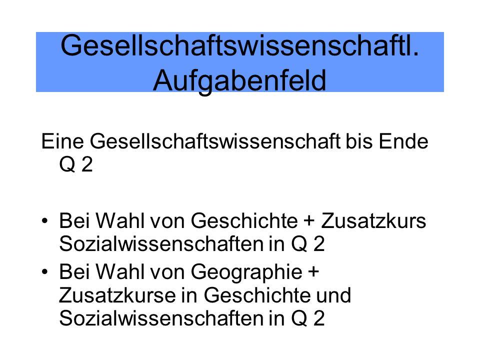 Gesellschaftswissenschaftl. Aufgabenfeld Eine Gesellschaftswissenschaft bis Ende Q 2 Bei Wahl von Geschichte + Zusatzkurs Sozialwissenschaften in Q 2