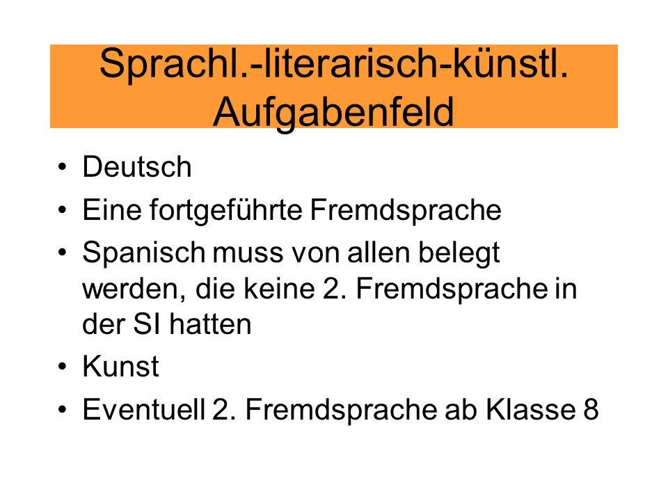 Sprachl.-literarisch-künstl. Aufgabenfeld Deutsch Eine fortgeführte Fremdsprache Spanisch muss von allen belegt werden, die keine 2. Fremdsprache in d