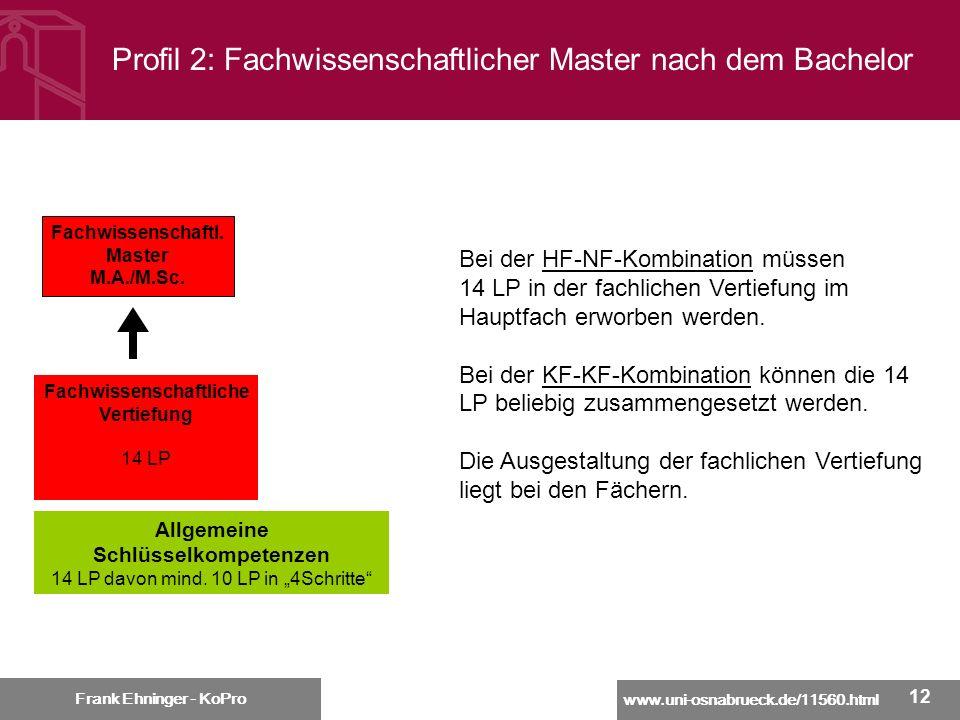 www.uni-osnabrueck.de/11560.html Frank Ehninger - KoPro 12 Profil 2: Fachwissenschaftlicher Master nach dem Bachelor Frank Ehninger - KoPro Bei der HF