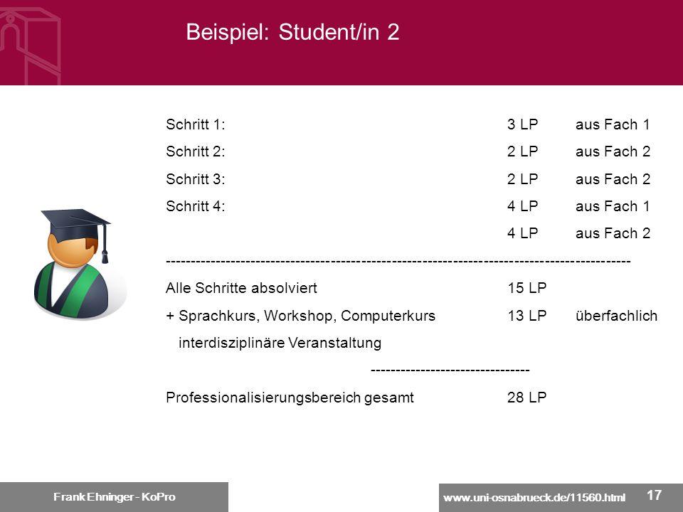 www.uni-osnabrueck.de/11560.html Frank Ehninger - KoPro 17 Beispiel: Student/in 2 Frank Ehninger - KoPro Schritt 1:3 LPaus Fach 1 Schritt 2:2 LPaus Fa