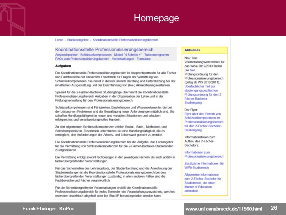 www.uni-osnabrueck.de/11560.html Frank Ehninger - KoPro 26 Frank Ehninger - KoPro Homepage