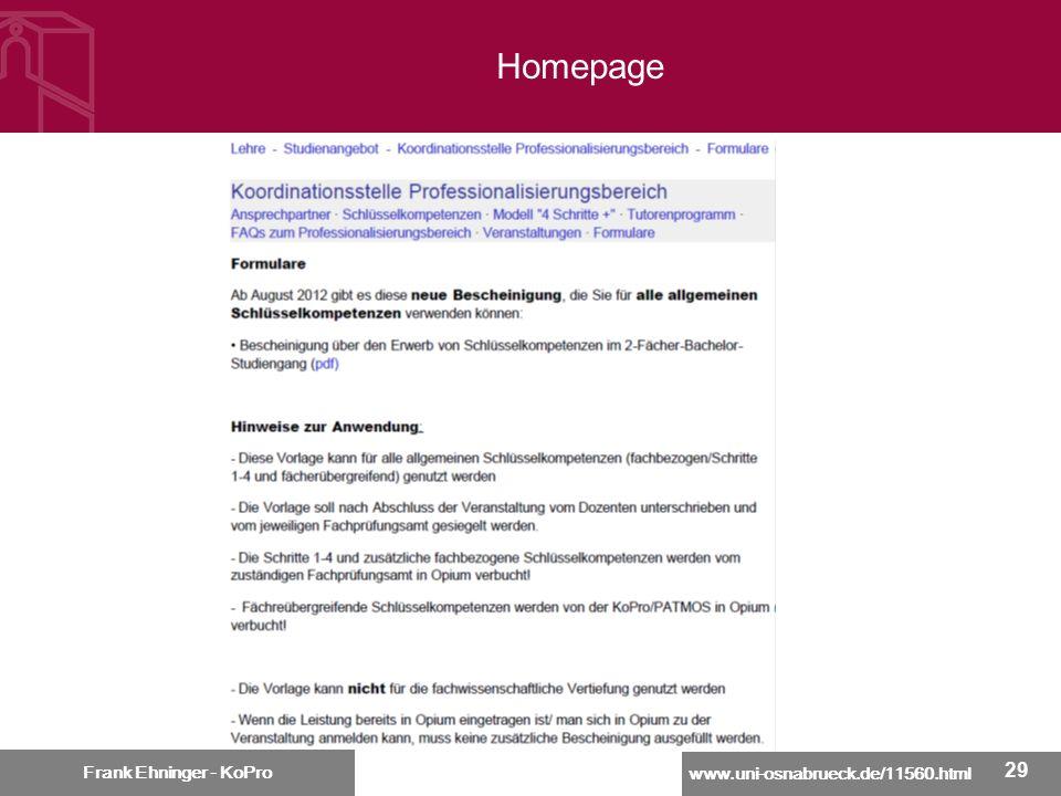 www.uni-osnabrueck.de/11560.html Frank Ehninger - KoPro 29 Frank Ehninger - KoPro Homepage
