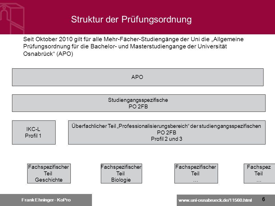 www.uni-osnabrueck.de/11560.html Frank Ehninger - KoPro 6 Seit Oktober 2010 gilt für alle Mehr-Fächer-Studiengänge der Uni die Allgemeine Prüfungsordn