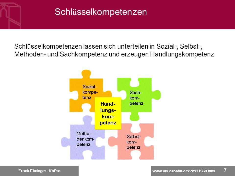 www.uni-osnabrueck.de/11560.html Frank Ehninger - KoPro 18 Vermittlungsformen allgemeiner Schlüsselkompetenzen Frank Ehninger - KoPro Fachbezogene Vermittlung in den Fächern.