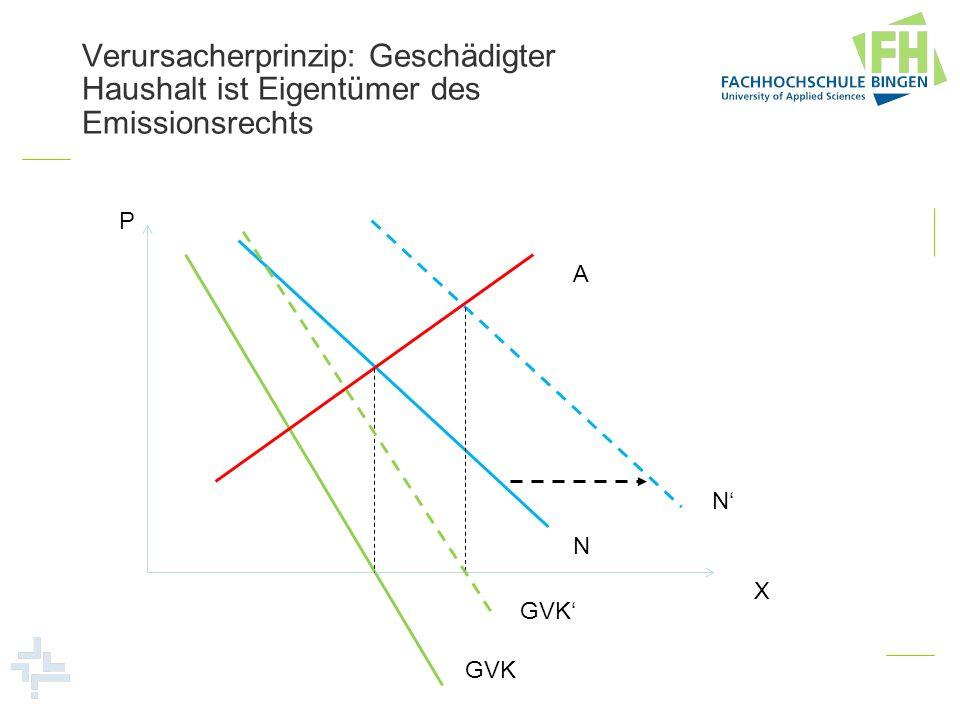 Verursacherprinzip: Geschädigter Haushalt ist Eigentümer des Emissionsrechts P X A N N GVK