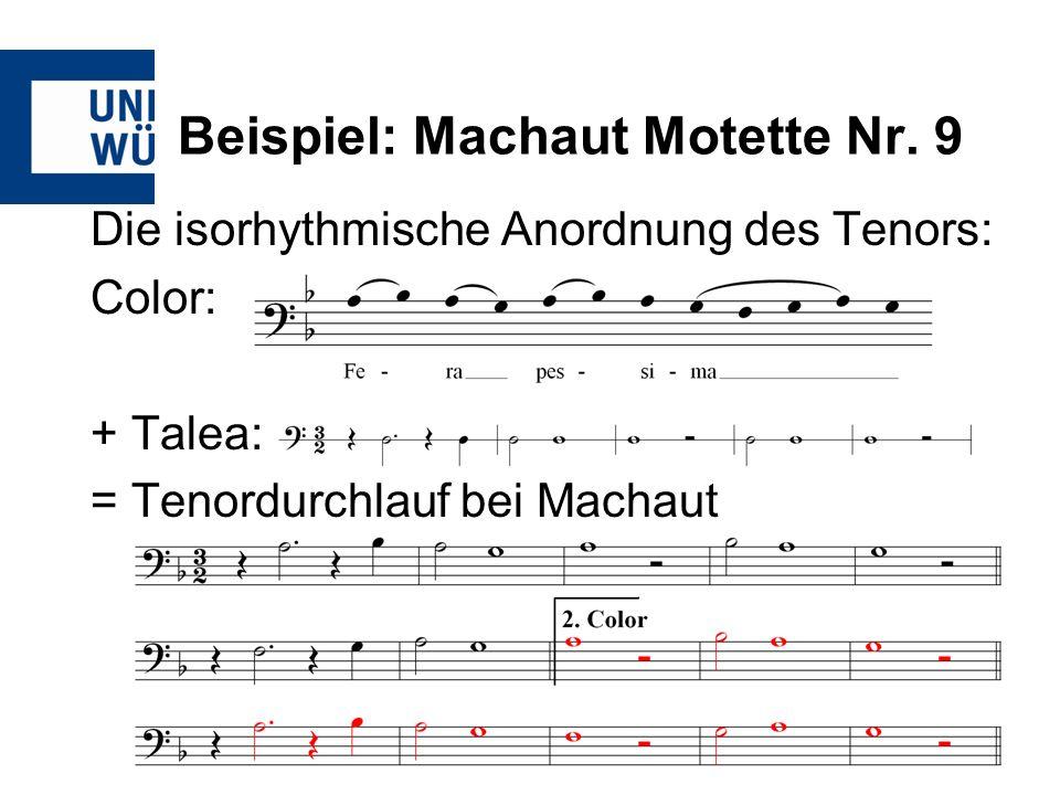 Beispiel: Machaut Motette Nr. 9 Die isorhythmische Anordnung des Tenors: Color: + Talea: = Tenordurchlauf bei Machaut