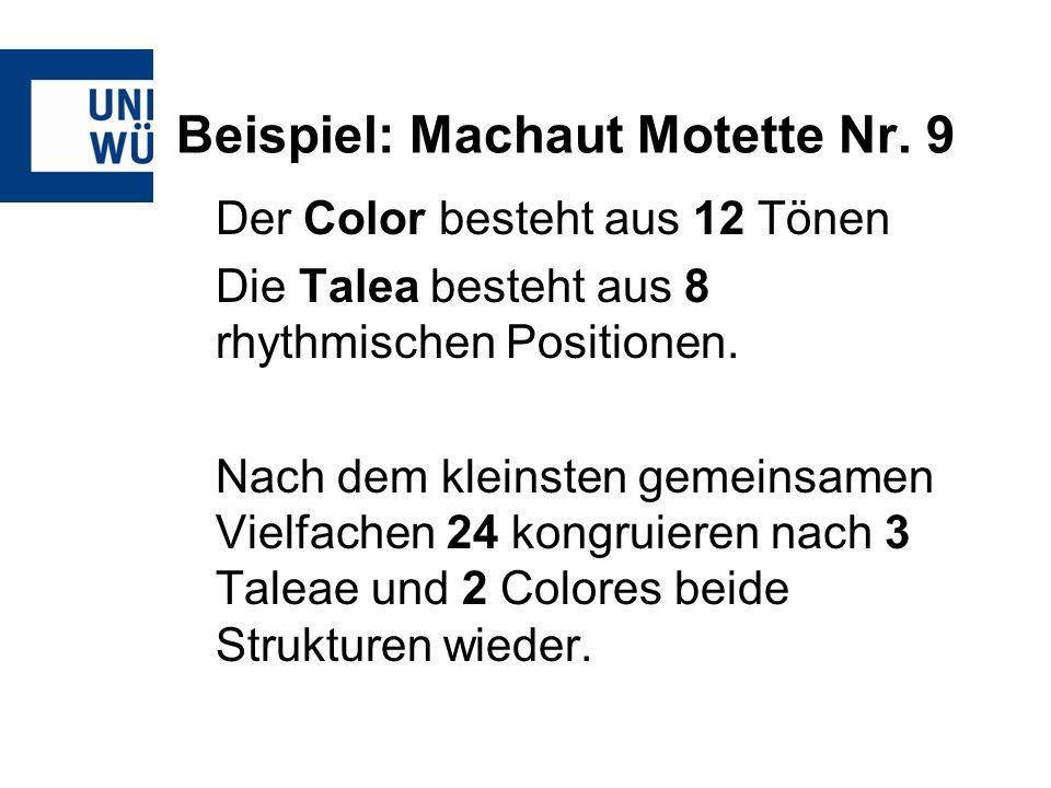 Beispiel: Machaut Motette Nr. 9 Der Color besteht aus 12 Tönen Die Talea besteht aus 8 rhythmischen Positionen. Nach dem kleinsten gemeinsamen Vielfac