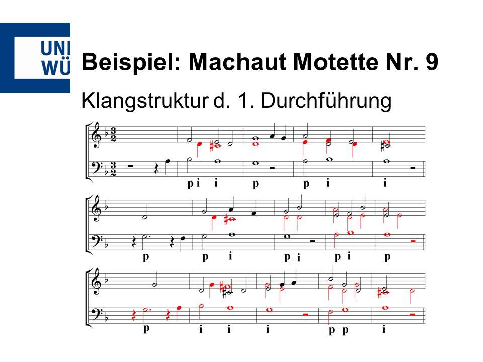 Beispiel: Machaut Motette Nr. 9 Klangstruktur d. 1. Durchführung