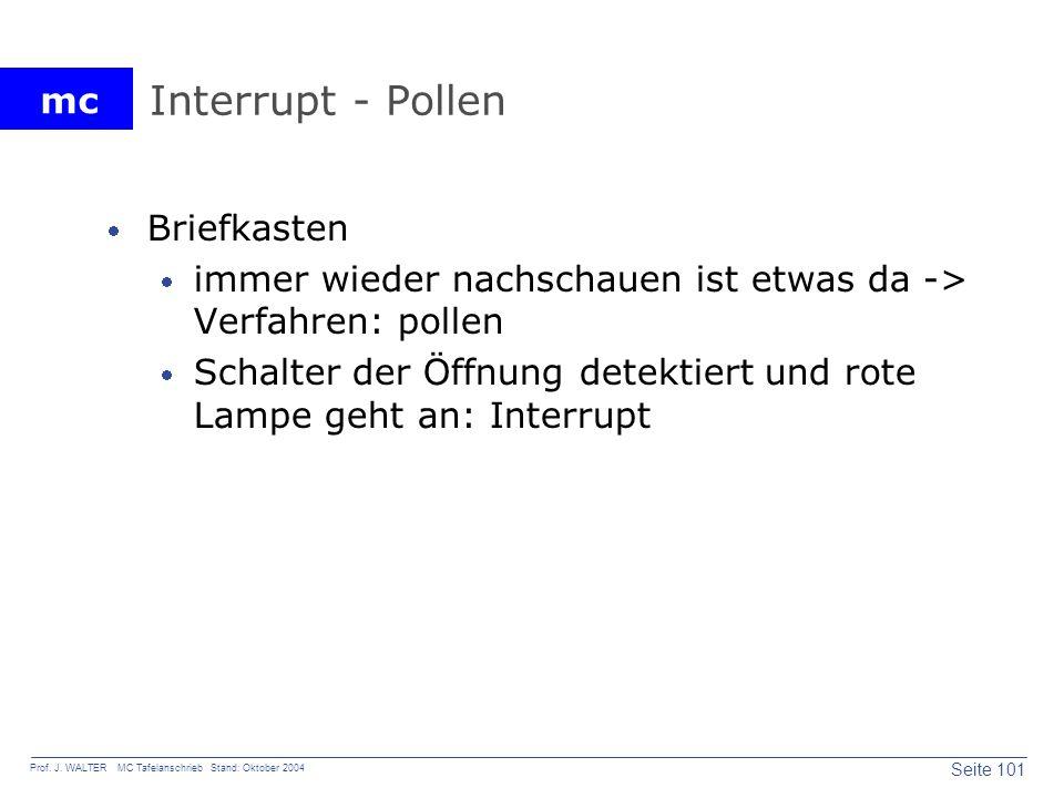 mc Seite 101 Prof. J. WALTER MC Tafelanschrieb Stand: Oktober 2004 Interrupt - Pollen Briefkasten immer wieder nachschauen ist etwas da -> Verfahren: