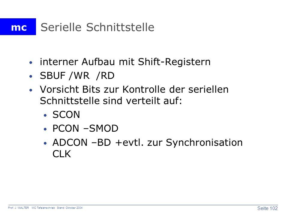 mc Seite 102 Prof. J. WALTER MC Tafelanschrieb Stand: Oktober 2004 Serielle Schnittstelle interner Aufbau mit Shift-Registern SBUF /WR /RD Vorsicht Bi