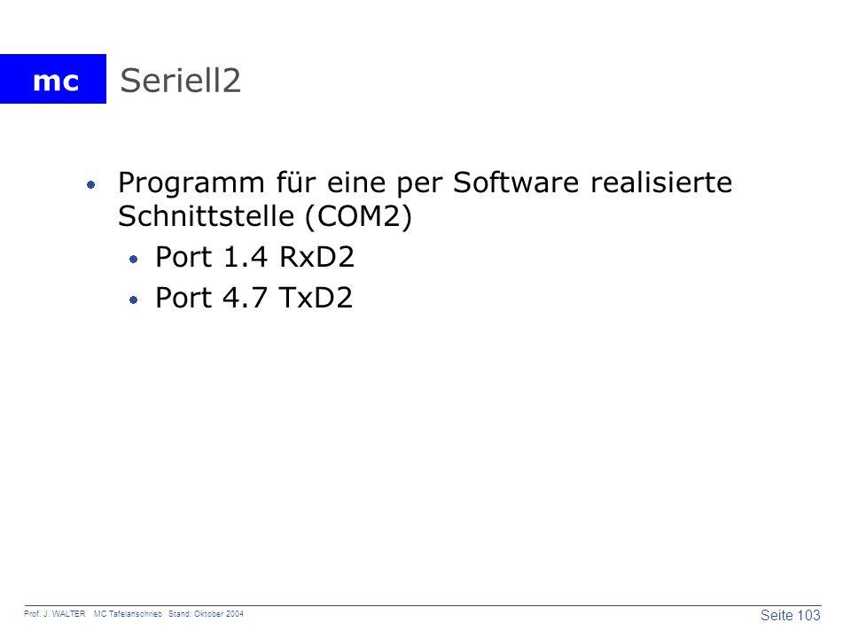 mc Seite 103 Prof. J. WALTER MC Tafelanschrieb Stand: Oktober 2004 Seriell2 Programm für eine per Software realisierte Schnittstelle (COM2) Port 1.4 R