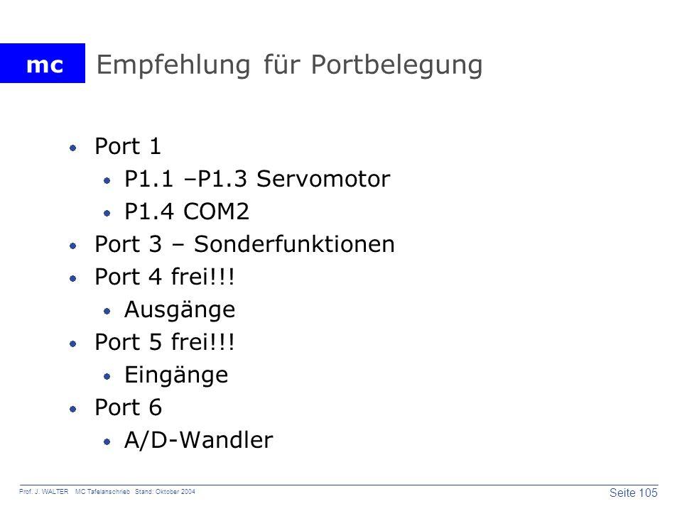 mc Seite 105 Prof. J. WALTER MC Tafelanschrieb Stand: Oktober 2004 Empfehlung für Portbelegung Port 1 P1.1 –P1.3 Servomotor P1.4 COM2 Port 3 – Sonderf