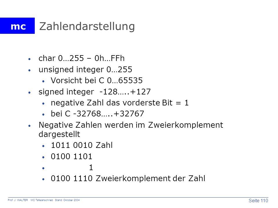 mc Seite 110 Prof. J. WALTER MC Tafelanschrieb Stand: Oktober 2004 Zahlendarstellung char 0…255 – 0h…FFh unsigned integer 0…255 Vorsicht bei C 0…65535