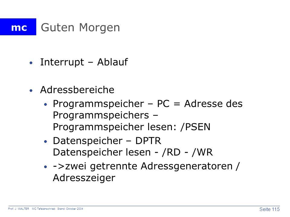 mc Seite 115 Prof. J. WALTER MC Tafelanschrieb Stand: Oktober 2004 Guten Morgen Interrupt – Ablauf Adressbereiche Programmspeicher – PC = Adresse des