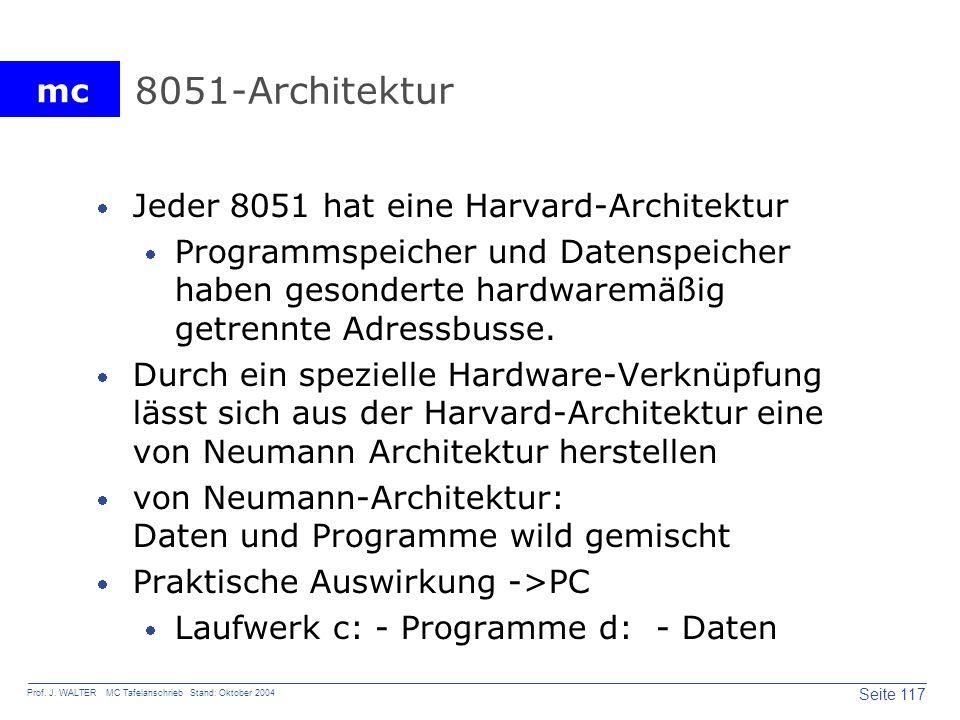 mc Seite 117 Prof. J. WALTER MC Tafelanschrieb Stand: Oktober 2004 8051-Architektur Jeder 8051 hat eine Harvard-Architektur Programmspeicher und Daten