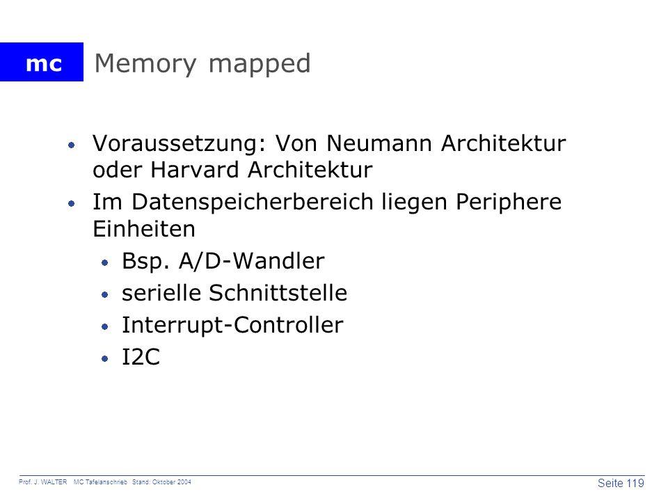 mc Seite 119 Prof. J. WALTER MC Tafelanschrieb Stand: Oktober 2004 Memory mapped Voraussetzung: Von Neumann Architektur oder Harvard Architektur Im Da