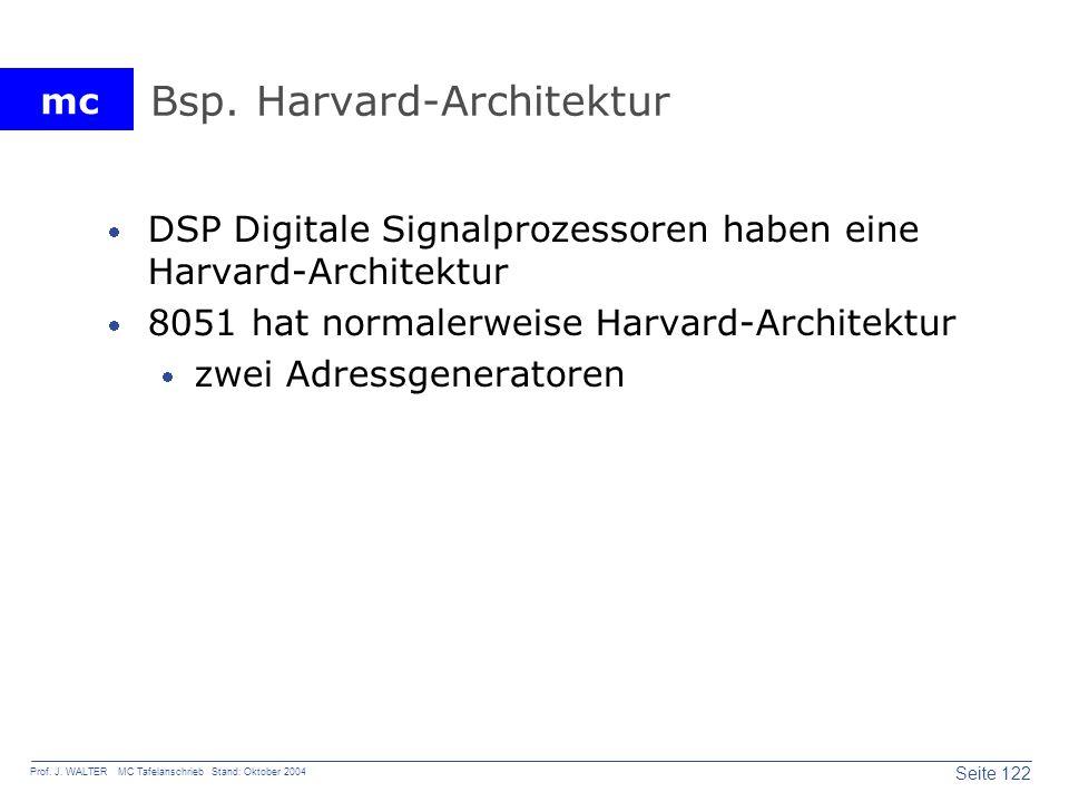 mc Seite 122 Prof. J. WALTER MC Tafelanschrieb Stand: Oktober 2004 Bsp. Harvard-Architektur DSP Digitale Signalprozessoren haben eine Harvard-Architek