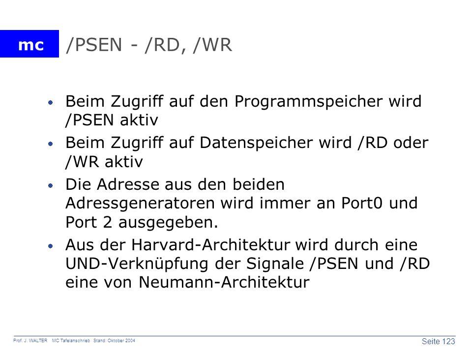 mc Seite 123 Prof. J. WALTER MC Tafelanschrieb Stand: Oktober 2004 /PSEN - /RD, /WR Beim Zugriff auf den Programmspeicher wird /PSEN aktiv Beim Zugrif