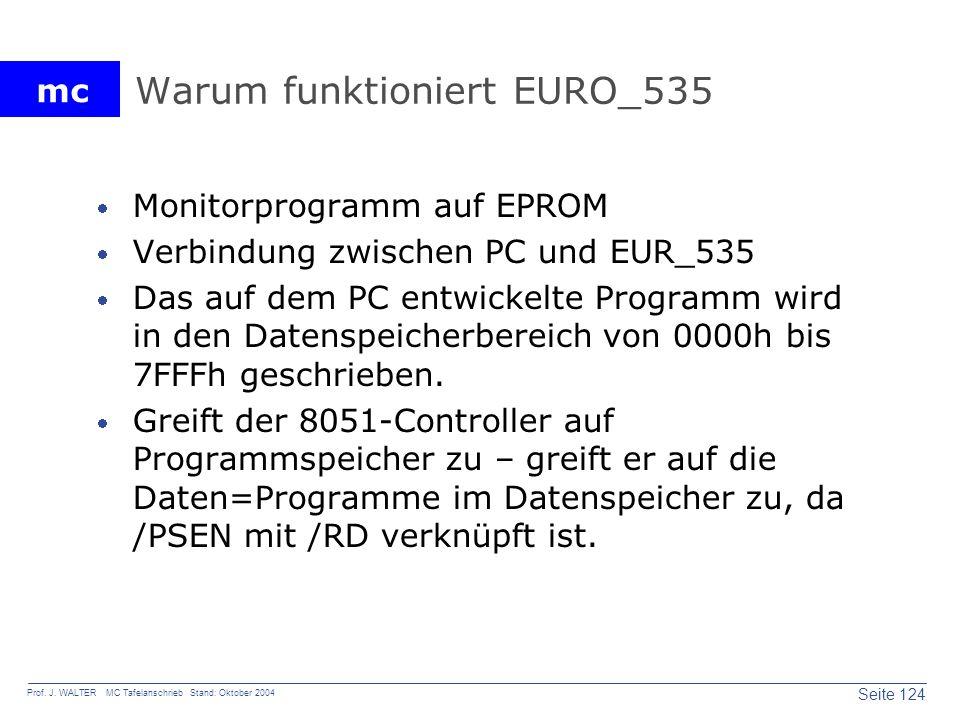 mc Seite 124 Prof. J. WALTER MC Tafelanschrieb Stand: Oktober 2004 Warum funktioniert EURO_535 Monitorprogramm auf EPROM Verbindung zwischen PC und EU