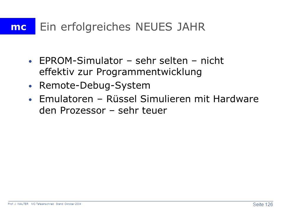 mc Seite 126 Prof. J. WALTER MC Tafelanschrieb Stand: Oktober 2004 Ein erfolgreiches NEUES JAHR EPROM-Simulator – sehr selten – nicht effektiv zur Pro