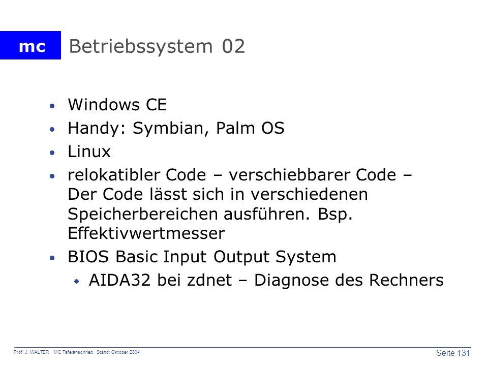 mc Seite 131 Prof. J. WALTER MC Tafelanschrieb Stand: Oktober 2004 Betriebssystem 02 Windows CE Handy: Symbian, Palm OS Linux relokatibler Code – vers