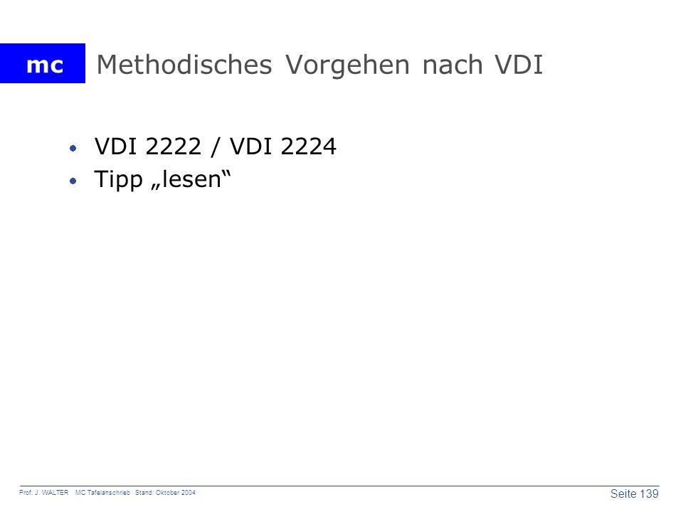 mc Seite 139 Prof. J. WALTER MC Tafelanschrieb Stand: Oktober 2004 Methodisches Vorgehen nach VDI VDI 2222 / VDI 2224 Tipp lesen