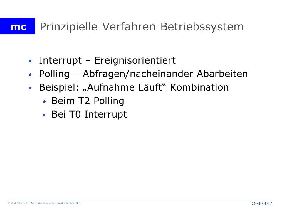 mc Seite 142 Prof. J. WALTER MC Tafelanschrieb Stand: Oktober 2004 Prinzipielle Verfahren Betriebssystem Interrupt – Ereignisorientiert Polling – Abfr