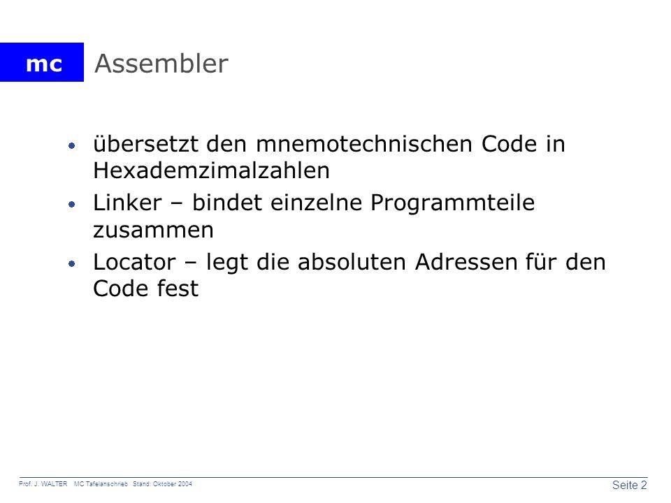 mc Seite 2 Prof. J. WALTER MC Tafelanschrieb Stand: Oktober 2004 Assembler übersetzt den mnemotechnischen Code in Hexademzimalzahlen Linker – bindet e