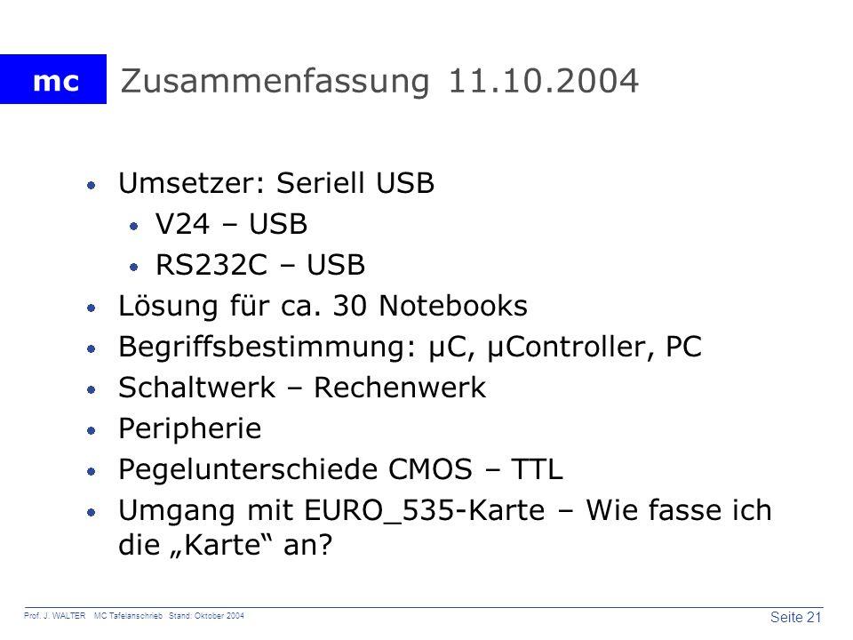 mc Seite 21 Prof. J. WALTER MC Tafelanschrieb Stand: Oktober 2004 Zusammenfassung 11.10.2004 Umsetzer: Seriell USB V24 – USB RS232C – USB Lösung für c