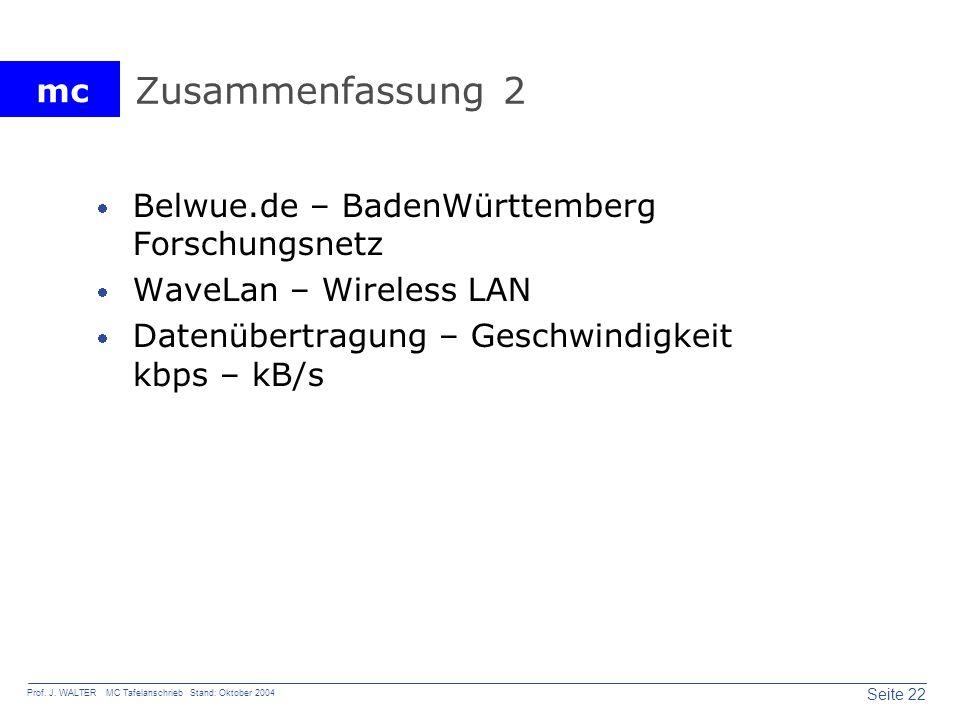 mc Seite 22 Prof. J. WALTER MC Tafelanschrieb Stand: Oktober 2004 Zusammenfassung 2 Belwue.de – BadenWürttemberg Forschungsnetz WaveLan – Wireless LAN