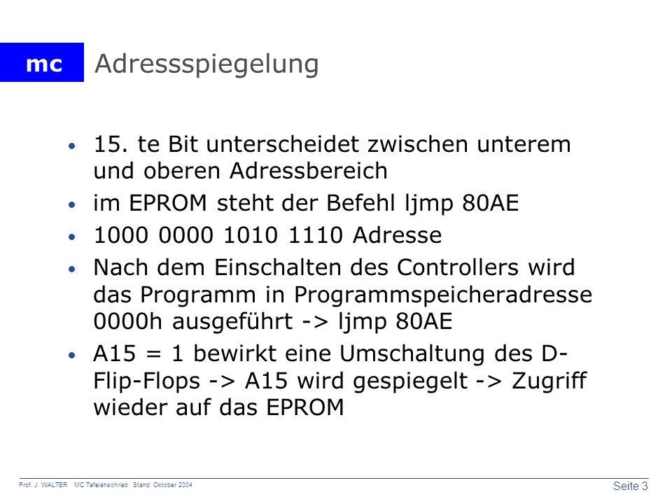 mc Seite 3 Prof. J. WALTER MC Tafelanschrieb Stand: Oktober 2004 Adressspiegelung 15. te Bit unterscheidet zwischen unterem und oberen Adressbereich i
