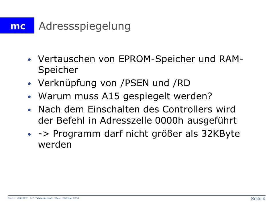 mc Seite 4 Prof. J. WALTER MC Tafelanschrieb Stand: Oktober 2004 Adressspiegelung Vertauschen von EPROM-Speicher und RAM- Speicher Verknüpfung von /PS