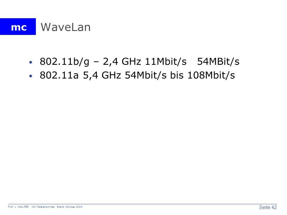 mc Seite 42 Prof. J. WALTER MC Tafelanschrieb Stand: Oktober 2004 WaveLan 802.11b/g – 2,4 GHz 11Mbit/s 54MBit/s 802.11a 5,4 GHz 54Mbit/s bis 108Mbit/s