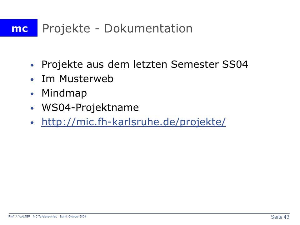 mc Seite 43 Prof. J. WALTER MC Tafelanschrieb Stand: Oktober 2004 Projekte - Dokumentation Projekte aus dem letzten Semester SS04 Im Musterweb Mindmap