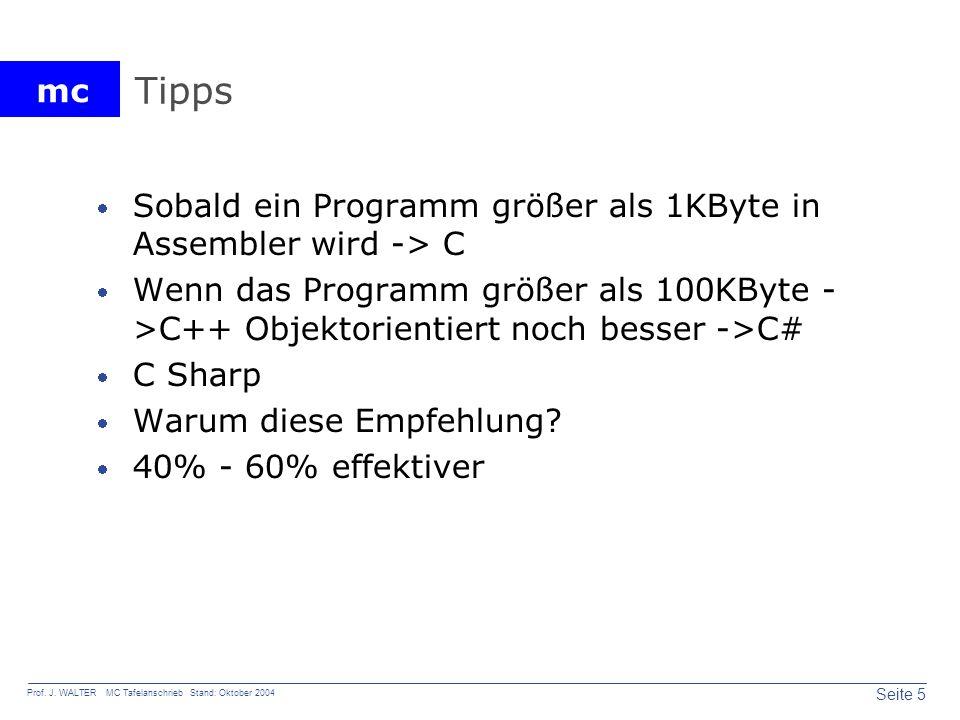 mc Seite 5 Prof. J. WALTER MC Tafelanschrieb Stand: Oktober 2004 Tipps Sobald ein Programm größer als 1KByte in Assembler wird -> C Wenn das Programm