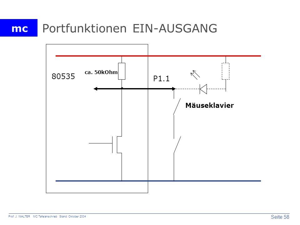 mc Seite 58 Prof. J. WALTER MC Tafelanschrieb Stand: Oktober 2004 Portfunktionen EIN-AUSGANG P1.1 80535 ca. 50kOhm Mäuseklavier