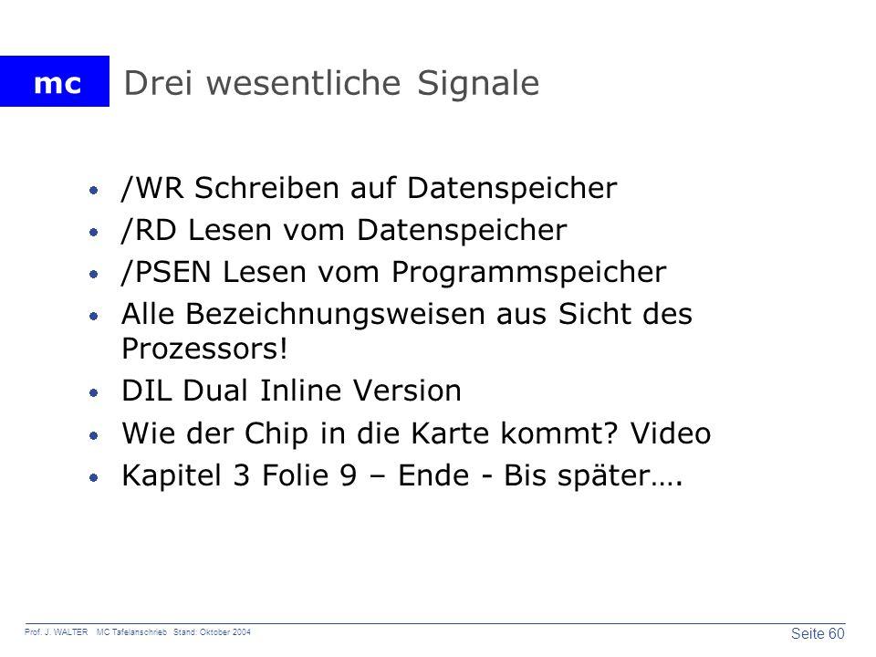 mc Seite 60 Prof. J. WALTER MC Tafelanschrieb Stand: Oktober 2004 Drei wesentliche Signale /WR Schreiben auf Datenspeicher /RD Lesen vom Datenspeicher