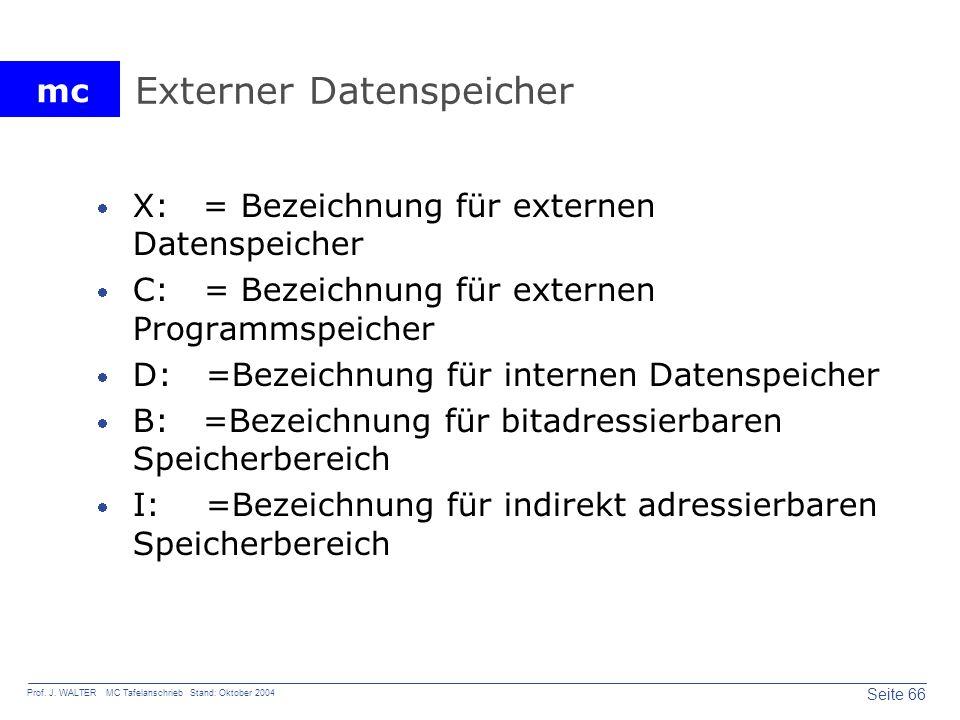mc Seite 66 Prof. J. WALTER MC Tafelanschrieb Stand: Oktober 2004 Externer Datenspeicher X: = Bezeichnung für externen Datenspeicher C: = Bezeichnung