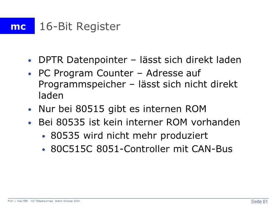 mc Seite 81 Prof. J. WALTER MC Tafelanschrieb Stand: Oktober 2004 16-Bit Register DPTR Datenpointer – lässt sich direkt laden PC Program Counter – Adr